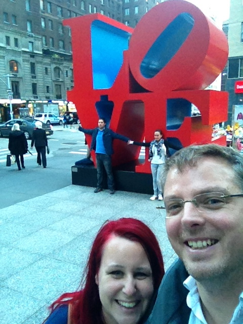 Me and Gareth in front of the Love sculpture...