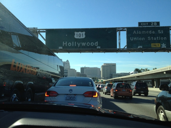 Driving into Hollywood...