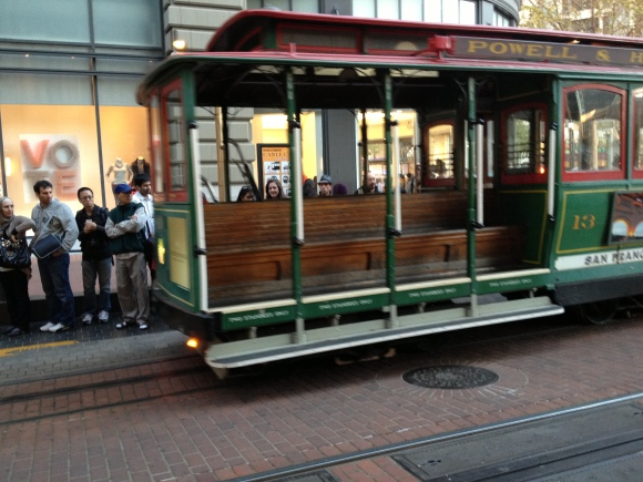 Old school cable cars down at Market Street