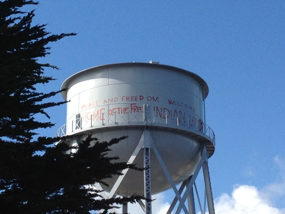 Graffiti on the water tower from the American Indian occupation