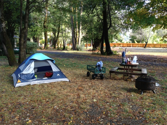 Our waterlogged campsite