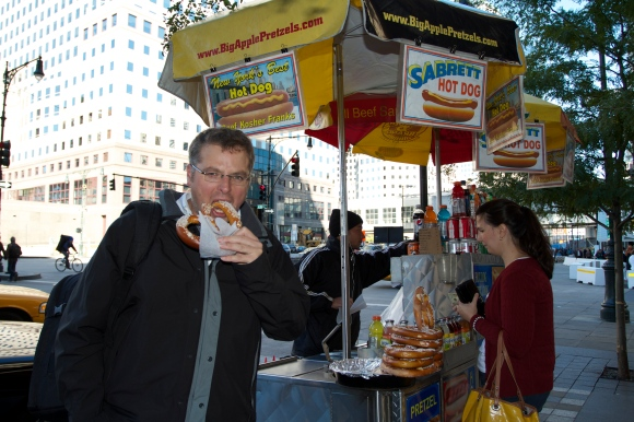 Gareth eating a giant pretzel - the man with the stall insisted on being in the picture...