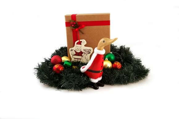 Santa duckling and gift box