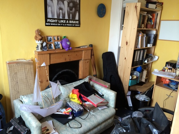 The Office/store room, complete with guitar, kite and pile of rubbish...
