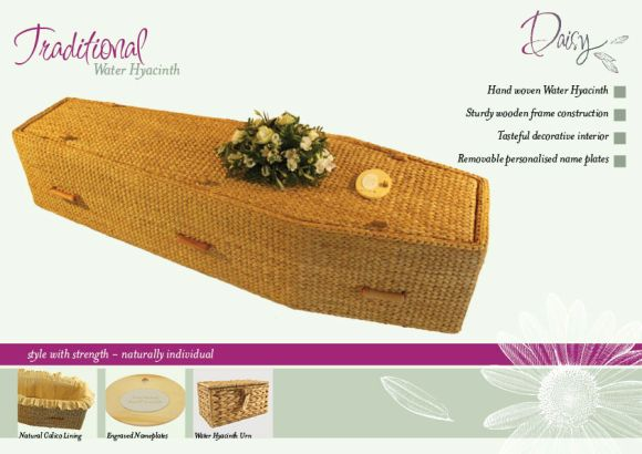 Water Hyacinth Coffin Presenter with Details
