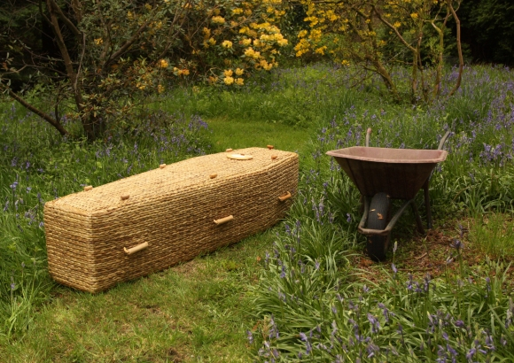 Water Hyacinth Traditional Coffin in the Garden