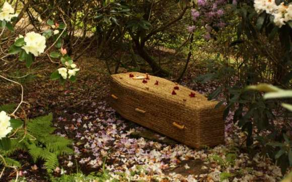 Water Hyacinth Traditional Coffin Surrounded by Flowers