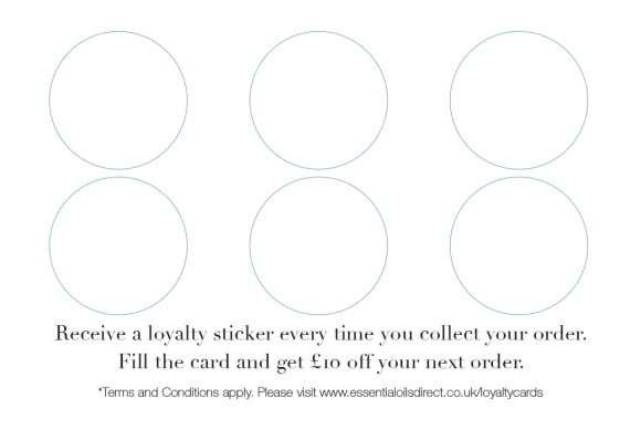 Essential Oils Direct Loyalty Card - back with space for stickers